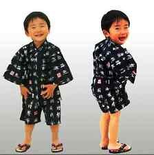 Japanese Kid Boy's Cotton Kimono Jinbei Kanji Characters (L, M), Made in Japan