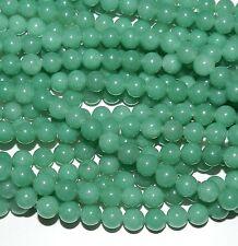 "GR918c Light Emerald Green 8mm Malay Jade Gemstone Round Beads 15"""