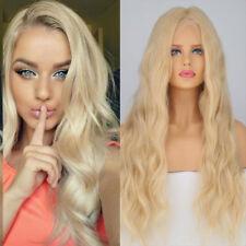 4*4 Silk Top Full Lace Human Hair Wig 100% European Deep Wave Straight Blonde sp