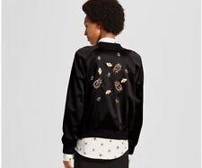 NWT Victoria Beckham Target women's Black Satin Embellished Bug Bomber Jacket XS