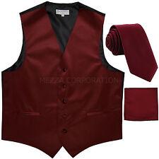 """New Men's burgundy vest Tuxedo Waistcoat_2.5"""" necktie & hankie set wedding"""
