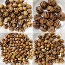 PERLES  BOIS  - VEINE COULEUR NATURELLE - 4 lots différents - de 6 MM à 15 mm