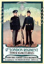 VINTAGE WW1 Reggimento di Londra Tower hamlets FUCILI reclutamento POSTER A3 stampa