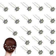 18~20 Pcs Wedding Bridal AB Crystal Daisy Flower Rhinestone Hair Pins Clips DIY