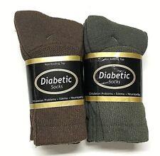 6 / 12 Pair Non-Binding Top DIABETIC Brown & Green Crew Sock Size 9-11, USA .