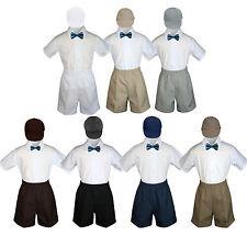 4pc Baby Boys Toddler Formal Green Teal Bowtie Black Khaki Shorts Set Hat Sm-4T