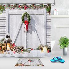 White Rustic Barn Xmas Wreath Baubles Ornament Shower Curtain Hooks Bathroom Mat