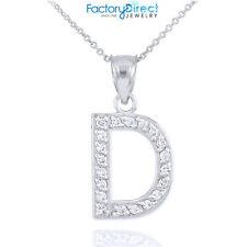 "Sterling Silver Letter ""D"" Initial CZ Monogram Pendant Necklace"