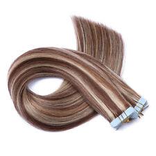 Tape In / On #4/24 GESTRÄHNT Hair Extensions 100% Echthaar Remy Haarverlängerung