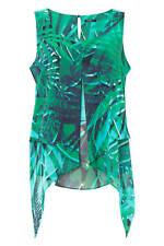 Roman Originals Womens Green Tropical Print Asymmetric Top Sizes 10-20