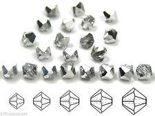Czech MC Glass Bicone Beads (Rondell/Diamond) Crystal Labrador CAL Half Silver