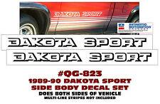 QG-823 1988-90 DODGE DAKOTA - DAKOTA SPORT - SIDE BODY DECAL LETTERING - LICENSE