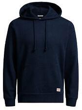 JACK & JONES Originals Overhead Hoodie Hooded Cotton Sweatshirt Top Navy Blazer