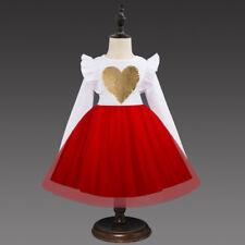 US Stock Flower Girls Heart Party Long Sleeve Tutu Princess Party Dress L15