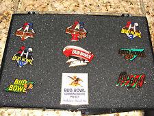 BUD BOWL COMMEMORATIVE 8 PIN SET NFL FOOTBALL RARE L@@K