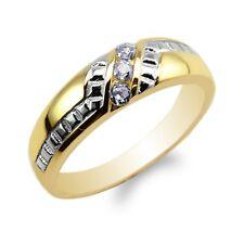 Mens 10K/14K Yellow Gold Two Tone Stylish Wedding Band Ring Size 7-12