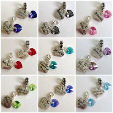 Personalised WEDDING Swarovski Elements AB Heart Charm Bead CLIP On or BAIL