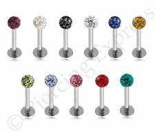 SHAMBALLA Labret Bar Lip Stud 316 Steel Monroe Ear Piercing Multi Crystal Ball