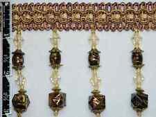 "3"" Exquisite Tassel Fringe Marble Bead Trim Brown Per Yard"
