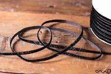 NASTRO nero Nastro di velluto Glitzy Glitter larghezza 5 mm Luccicante Matrimonio Cucito Craft