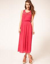 LOVELY NUOVO Ex Asos Floaty Chiffon crespa rosa MIDI Maternity Dress 8 - 16 Rrp £ 50