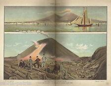 NAPOLI_VESUVIO_ERUZIONE DEL 1895_BELLA VEDUTA DEL GOLFO DI NAPOLI_ANTICA STAMPA