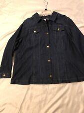 Croft&Barrow Denim Jacket: Women Long Sleeve,Blazer-Like, Button Front: Blu, 3X