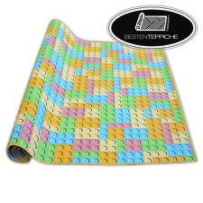 Teppichboden für Kinder LEGO Breite 200, 400 cm Block Blöcke gelb blau rosa grün