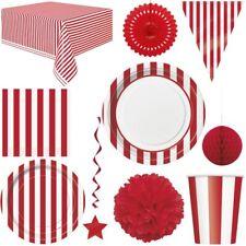 Rote Streifen Party Geburtstag Pappteller Einweggeschirr Deko Jubiläum Rot weiss