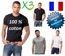 3 POLO TEE SHIRT MARCEL HOMME 100 % COTON MANCHE COURTE COL ROND NOIR BLANC GRIS