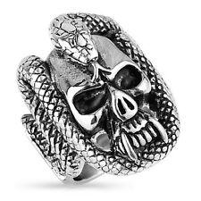 Massiver Herren Biker Rocker Ring Totenschädel mit Schlange Skull and Snake