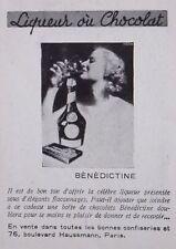 PUBLICITÉ 1937 OFFRIR LIQUEUR BENEDICTINE OU CHOCOLAT DOUS D'ÉLÉGANT FLACONNAGE