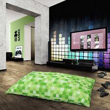 Large Pixels Green Checkered Floor Lounge Gaming Cushion Multi Purpose