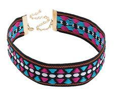 New Ladies Multi Tone Tribal Print Fabric Design Choker Necklace