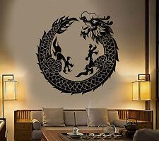 Vinyl Wall Decal Asian Chinese Dragon Circle Fantasy Japanese Stickers (1279ig)