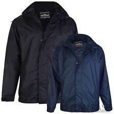 New Mens Black & Navy Kam Waterproof Top Hooded Hoodie Jacket Gym Top KV01