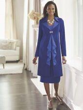 Midnight Velvet Formal Dress Royal Blue Ruffle Duster Skirt Suit 8 12 14 16