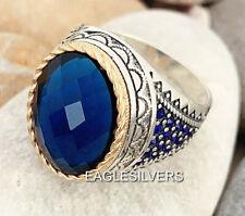 3d28e6c45d89 Hecho a Mano Azul Circonita Piedras Plata de Ley 925 Hombre Mujer Anillo 23