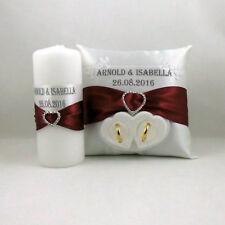 Anillo almohada con nombre y fecha, box para, alianzas de bodas vela boda set