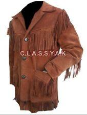 Classyak Men's Brown Western Fringed Suede Leather Coat - Xs-5xl