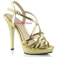 Sexy SANDALI ORO tacco 13 dal 35 a 42 plateau cinturino scarpe GLAMOUR fashion