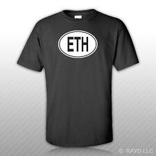ETH Ethiopia Country Code Oval T-Shirt Tee Shirt Free Sticker Ethiopian euro