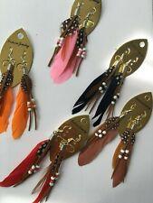 Women Natural Feather Dangle Beads Fashion Earrings Jewellery