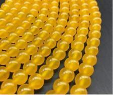 "4/6mm yellow bead Natural Smooth Gemstones Round Loose Beads 15"""