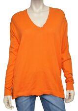 Michael Kors V-Neck Sweater Top Pullover Soft Cotton Blend Orange M/L Nwt $89