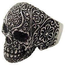 USA Seller Men's Silver Stainless Steel Skull Biker Ring Size 8-14 SR43