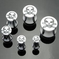 1 Pair Acrylic 6g White Black Skull Saddle Plugs 4mm Ear Gauges Double Flared