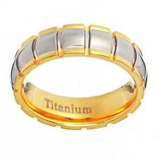 6mm Dome Groove Top Ridge Edge Tu-Tone Titanium Engagement Wedding Ring