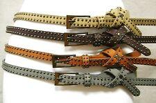 Women's Rivet Thin Faux Leather Belt With Design 4 Color