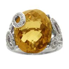 14k White Gold Citrine And Diamond Oval Ring